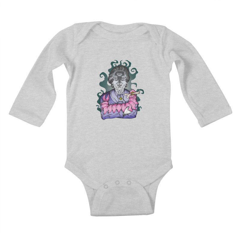 Old lady and her pet Kids Baby Longsleeve Bodysuit by juliusllopis's Artist Shop