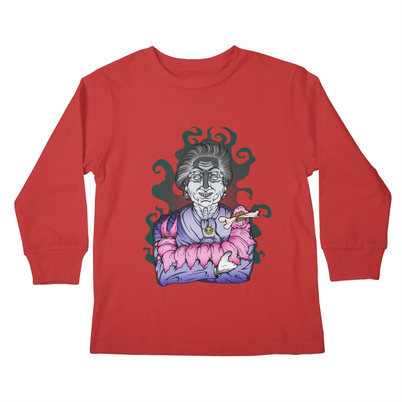 Old lady and her pet Kids Longsleeve T-Shirt by juliusllopis's Artist Shop