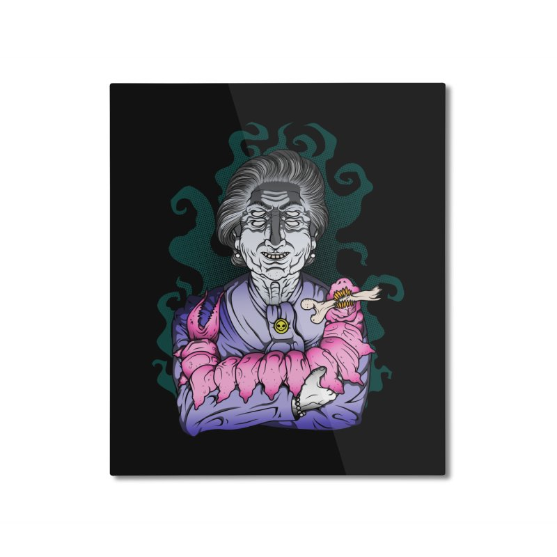 Old lady and her pet Home Mounted Aluminum Print by juliusllopis's Artist Shop
