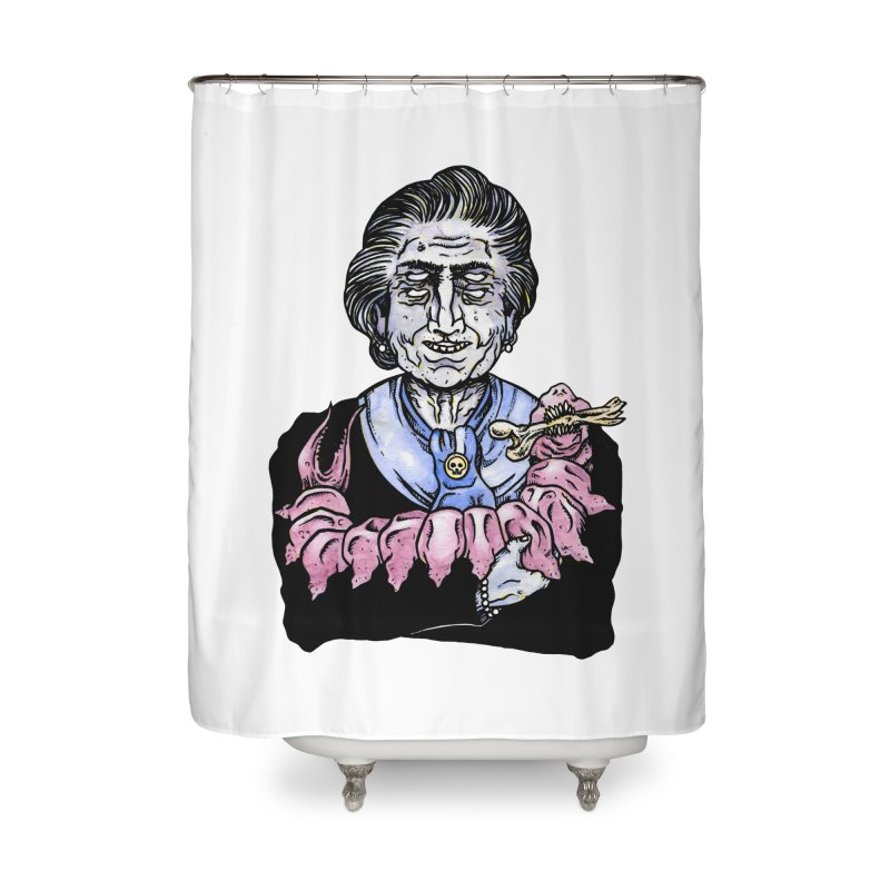 Old lady and her pet Home Shower Curtain by juliusllopis's Artist Shop
