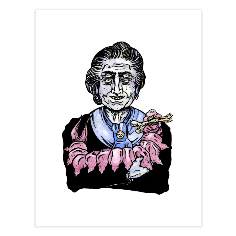 Old lady and her pet Home Fine Art Print by juliusllopis's Artist Shop