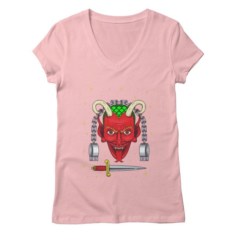 Devil Women's Regular V-Neck by juliusllopis's Artist Shop