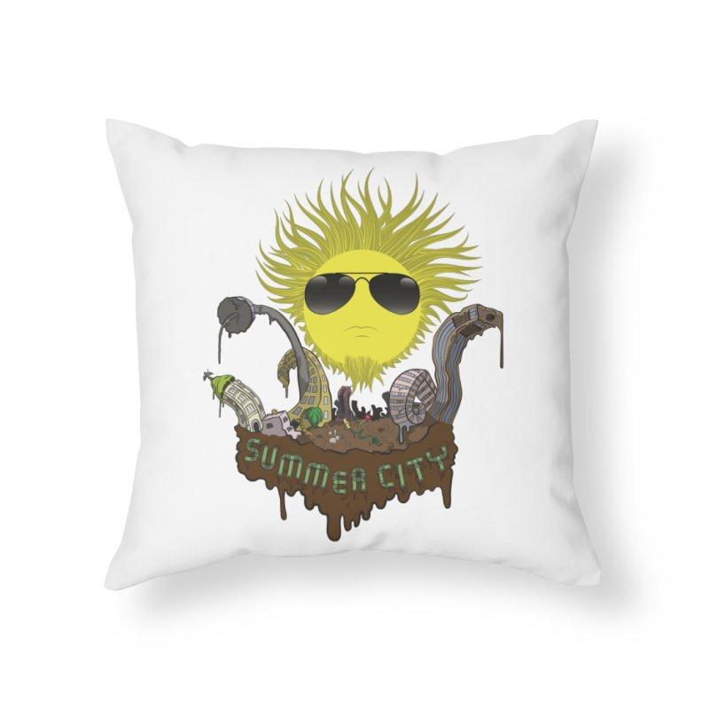 Summer city Home Throw Pillow by juliusllopis's Artist Shop
