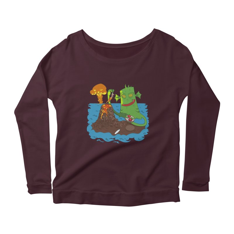 Sea monter burguer Women's Longsleeve Scoopneck  by juliusllopis's Artist Shop