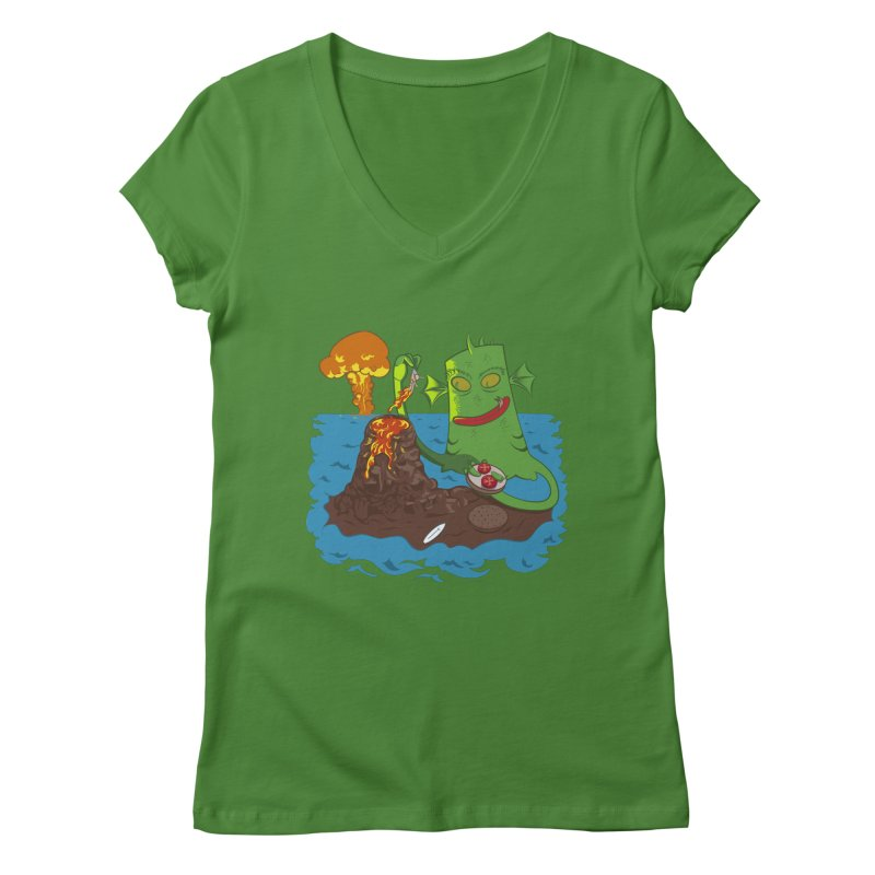 Sea monter burguer Women's V-Neck by juliusllopis's Artist Shop