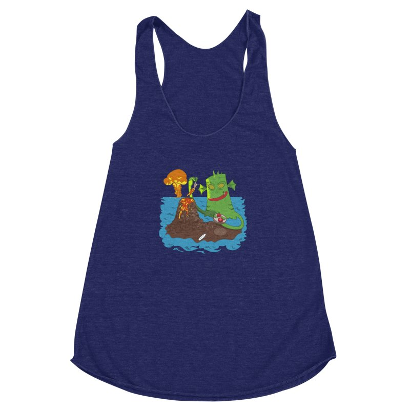 Sea monter burguer Women's Racerback Triblend Tank by juliusllopis's Artist Shop