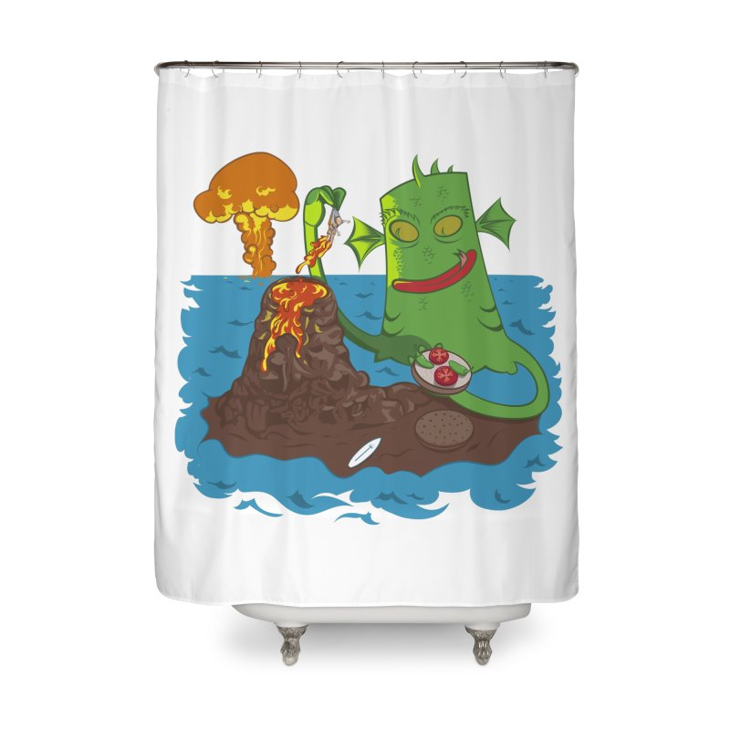 Sea monter burguer Home Shower Curtain by juliusllopis's Artist Shop