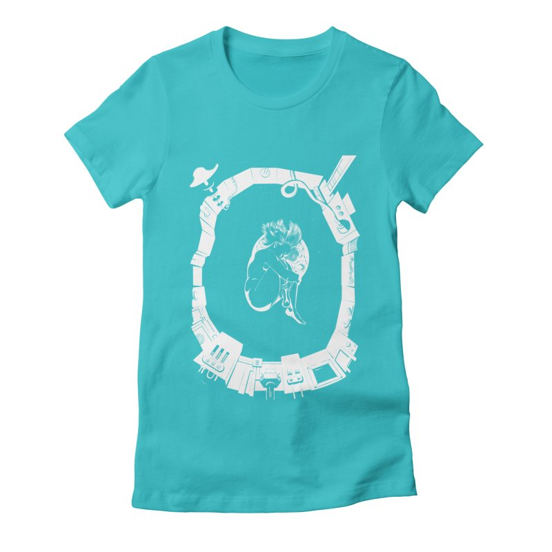 Alone in space Women's Fitted T-Shirt by juliusllopis's Artist Shop