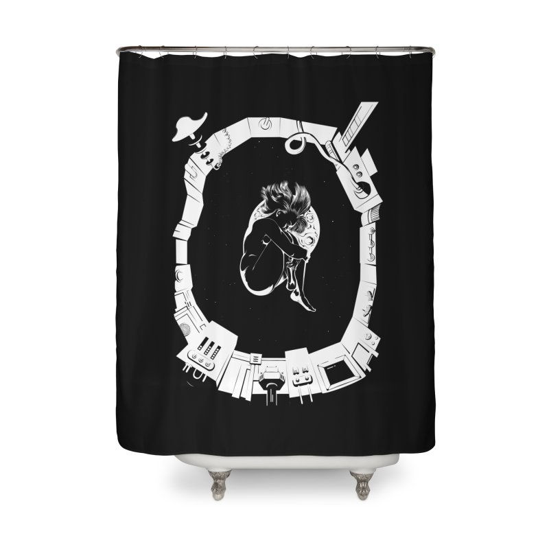 Alone in space Home Shower Curtain by juliusllopis's Artist Shop