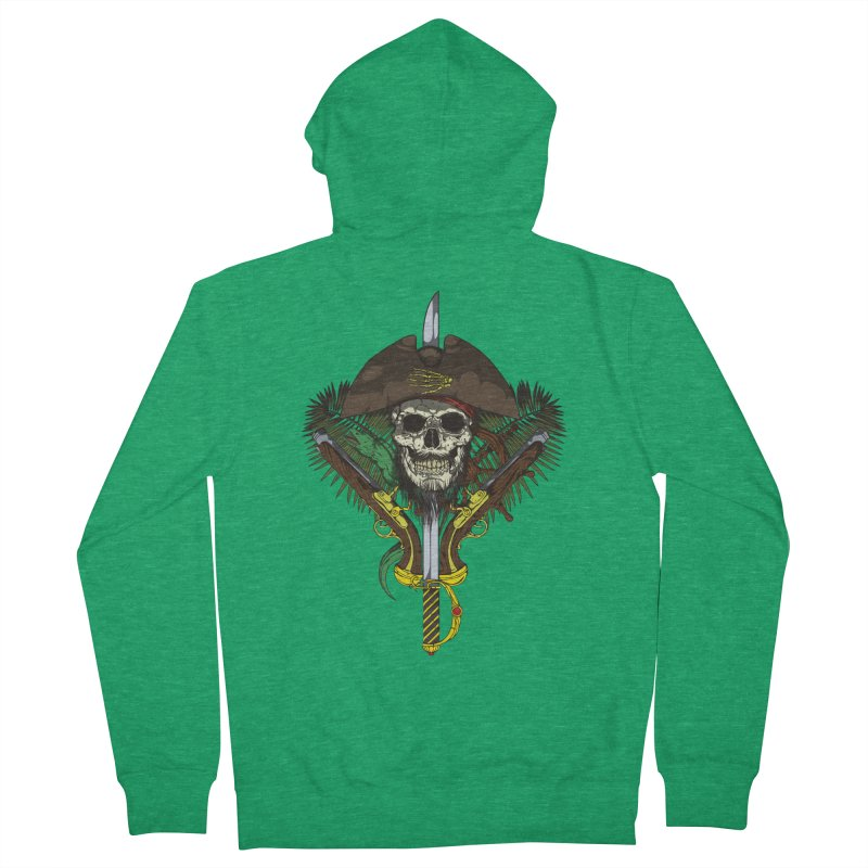 Pirate skull Women's French Terry Zip-Up Hoody by juliusllopis's Artist Shop