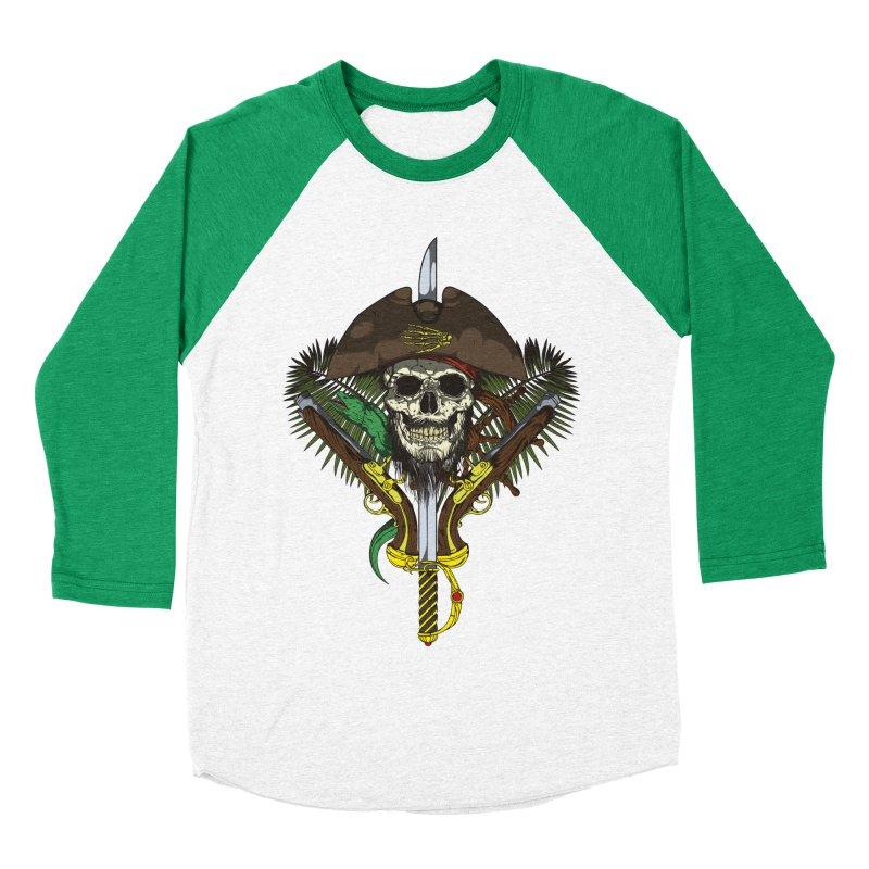 Pirate skull Women's Baseball Triblend Longsleeve T-Shirt by juliusllopis's Artist Shop