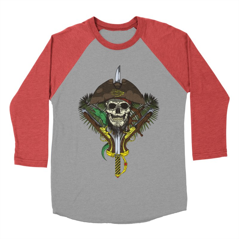 Pirate skull Men's Baseball Triblend T-Shirt by juliusllopis's Artist Shop