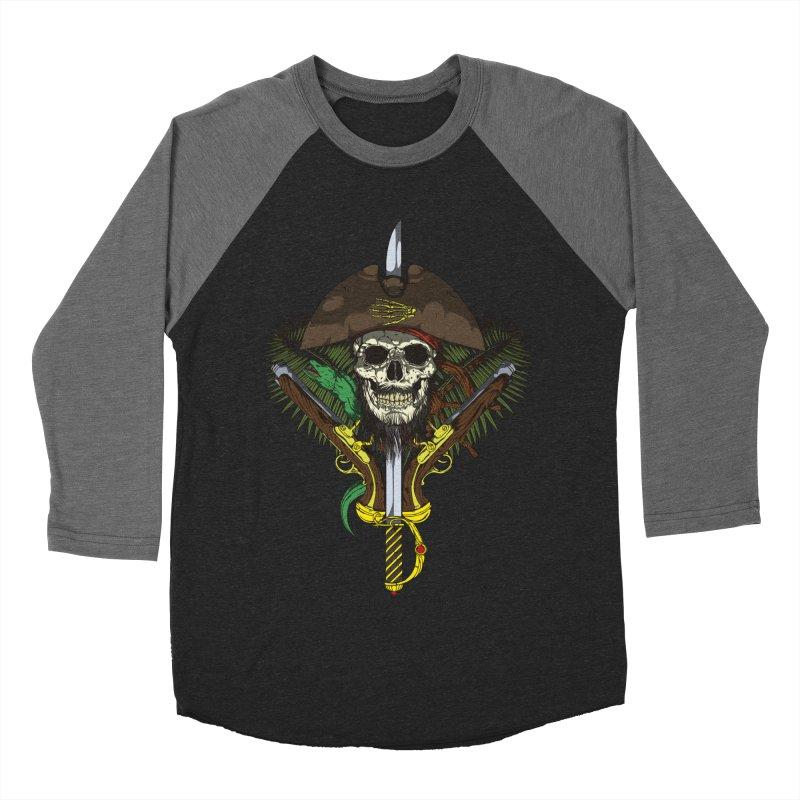 Pirate skull Men's Baseball Triblend Longsleeve T-Shirt by juliusllopis's Artist Shop