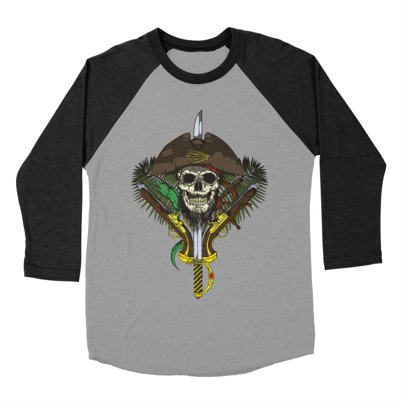 Pirate skull Men's Baseball Triblend Longsleeve T-Shirt by juliusllopis's Artist Shop