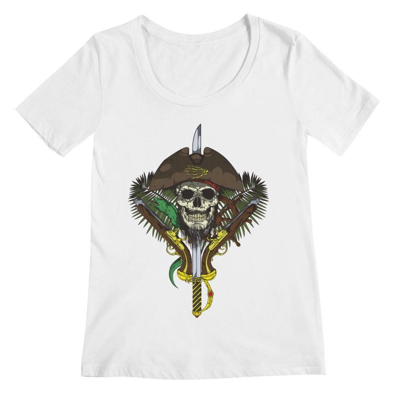 Pirate skull Women's Scoopneck by juliusllopis's Artist Shop