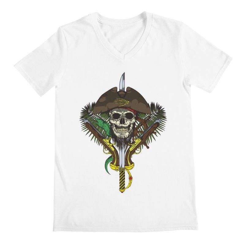 Pirate skull Men's Regular V-Neck by juliusllopis's Artist Shop