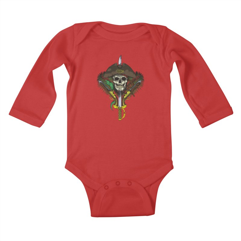 Pirate skull Kids Baby Longsleeve Bodysuit by juliusllopis's Artist Shop