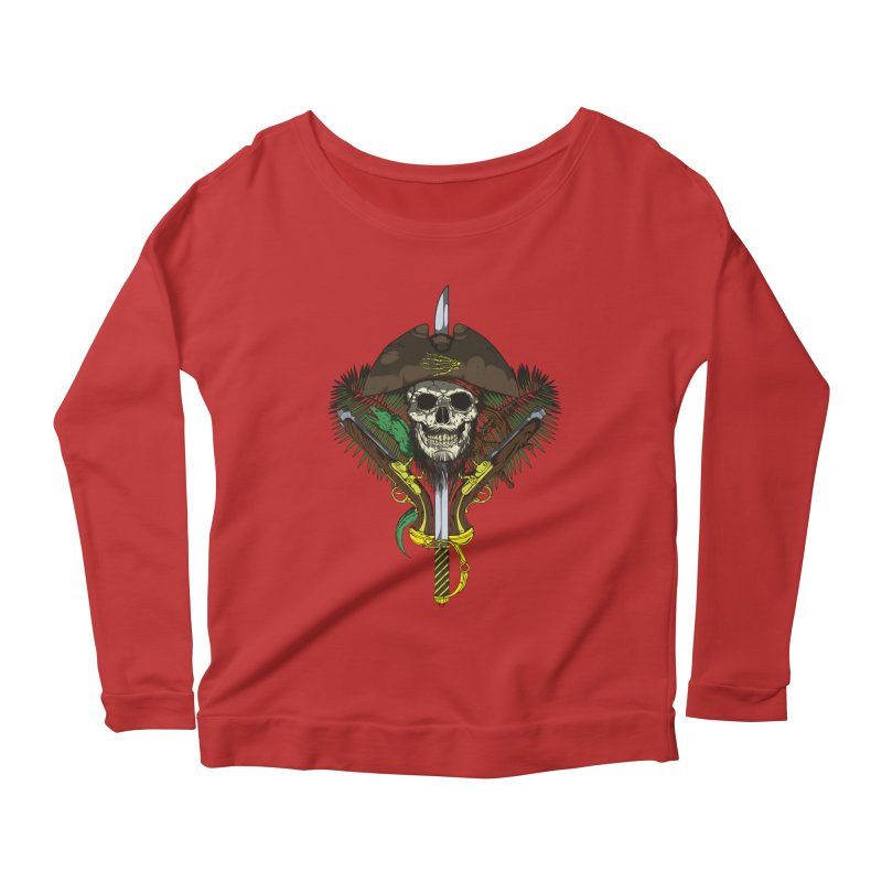 Pirate skull Women's Longsleeve Scoopneck  by juliusllopis's Artist Shop