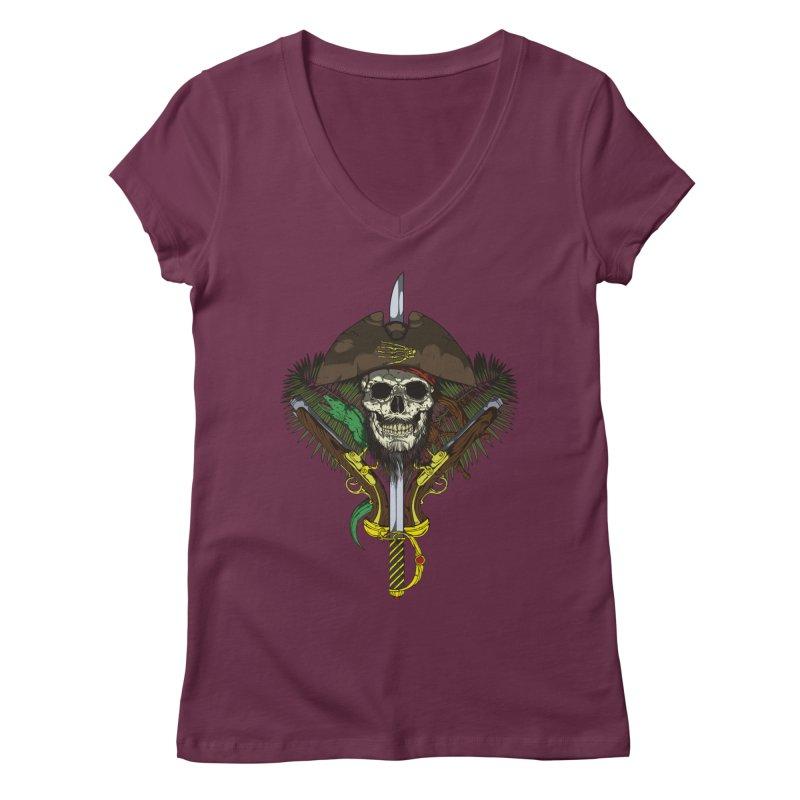 Pirate skull Women's Regular V-Neck by juliusllopis's Artist Shop