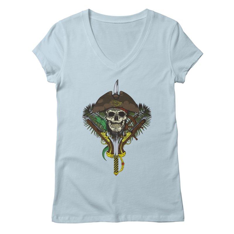 Pirate skull Women's V-Neck by juliusllopis's Artist Shop