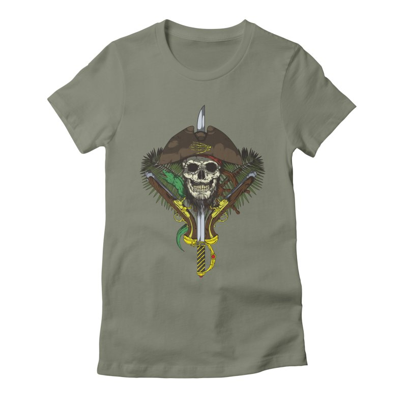 Pirate skull Women's Fitted T-Shirt by juliusllopis's Artist Shop