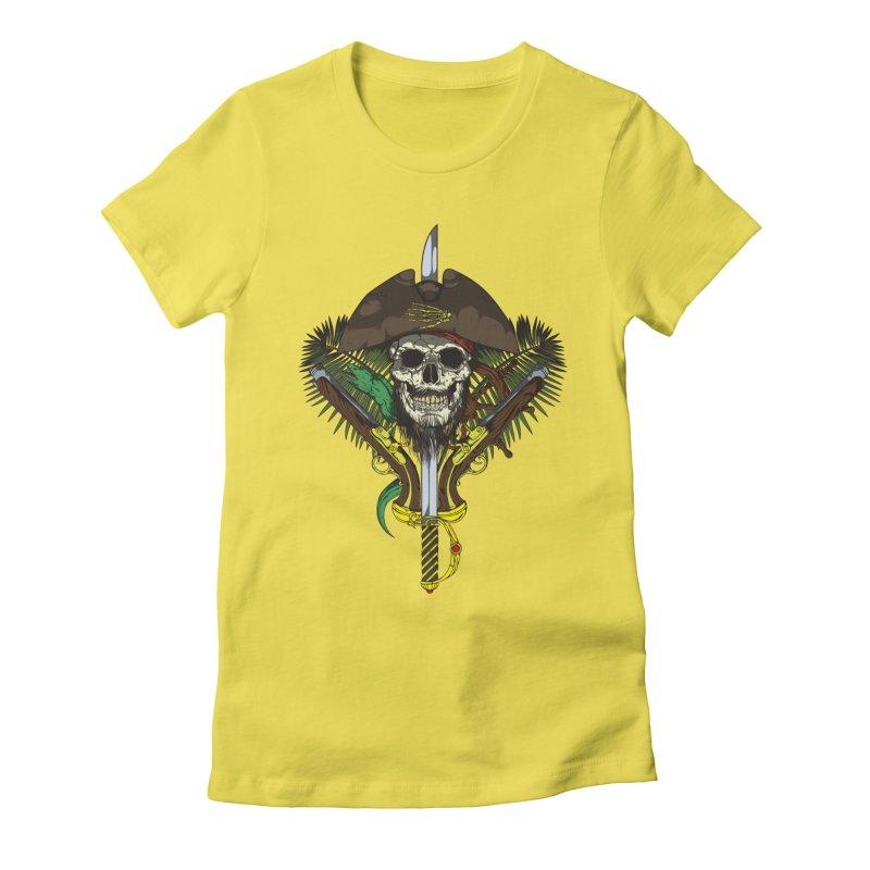 Pirate skull Women's Fitted T-Shirt by juliusllopis's Artist Shop