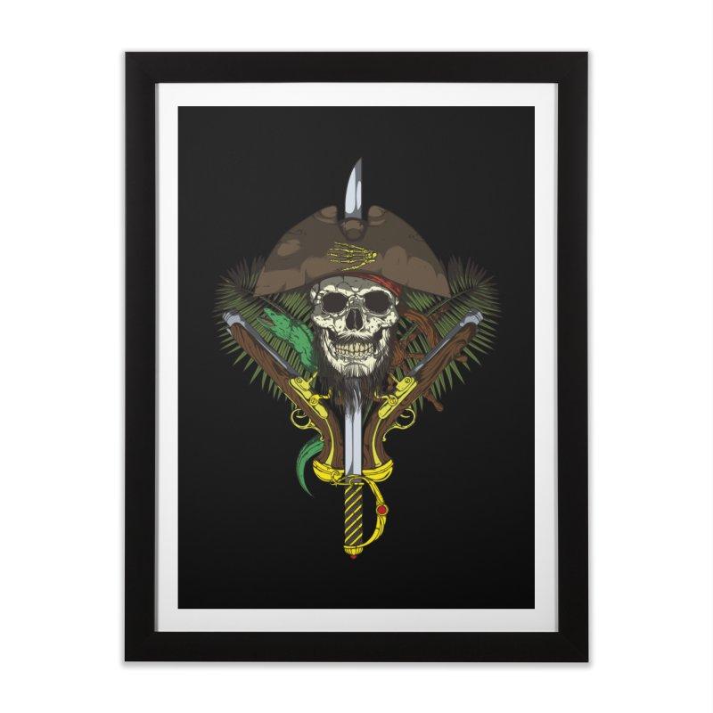 Pirate skull Home Framed Fine Art Print by juliusllopis's Artist Shop