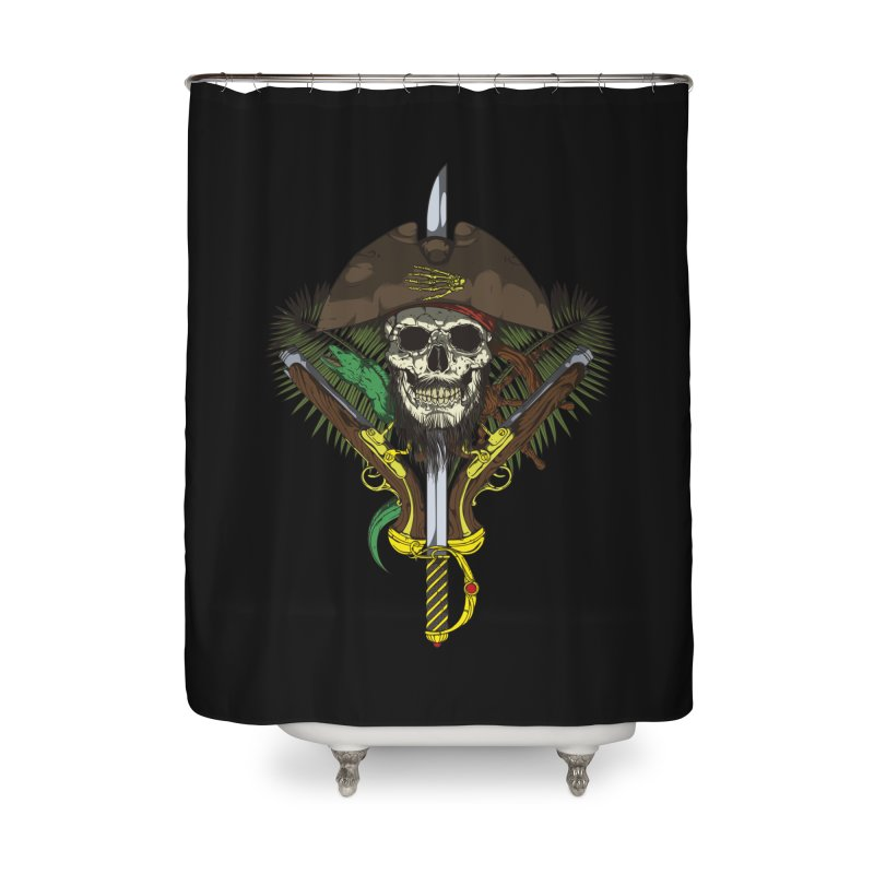 Pirate skull Home Shower Curtain by juliusllopis's Artist Shop