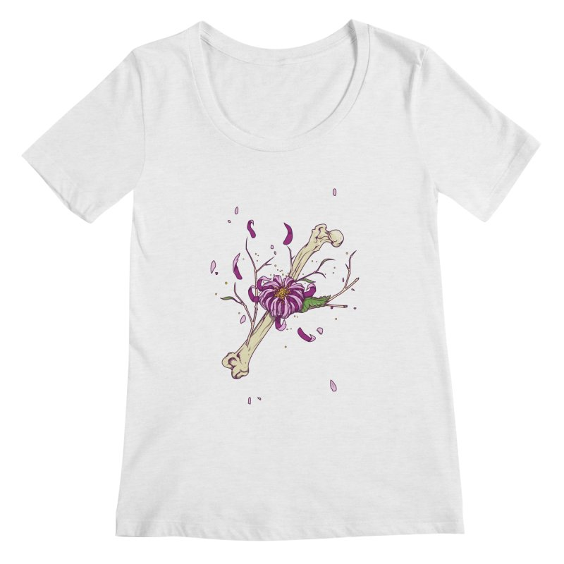 Flower bone Women's Scoopneck by juliusllopis's Artist Shop