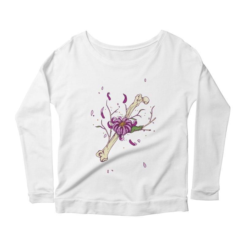 Flower bone Women's Longsleeve Scoopneck  by juliusllopis's Artist Shop
