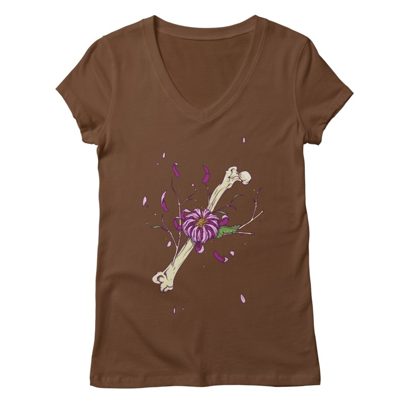 Flower bone Women's V-Neck by juliusllopis's Artist Shop