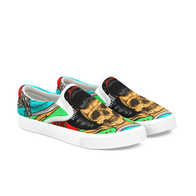 Geisha skull Men's Slip-On Shoes by juliusllopis's Artist Shop