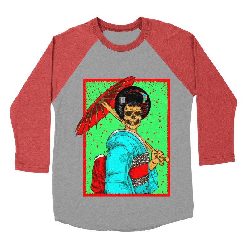 Geisha skull Men's Baseball Triblend Longsleeve T-Shirt by juliusllopis's Artist Shop