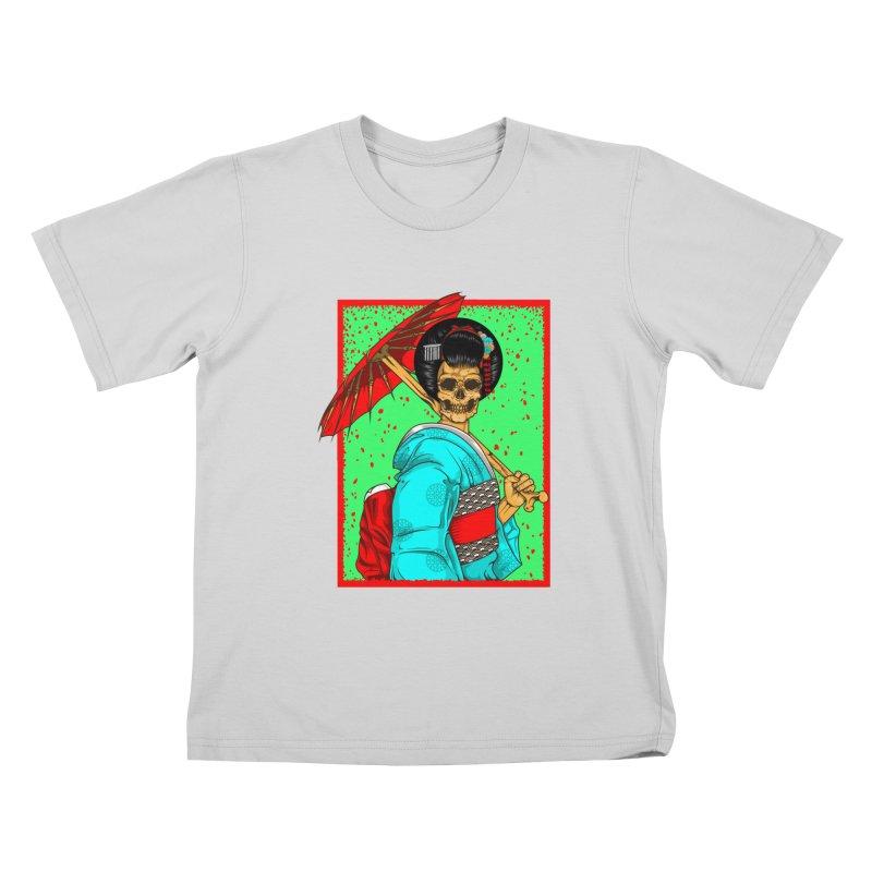 Geisha skull Kids T-Shirt by juliusllopis's Artist Shop