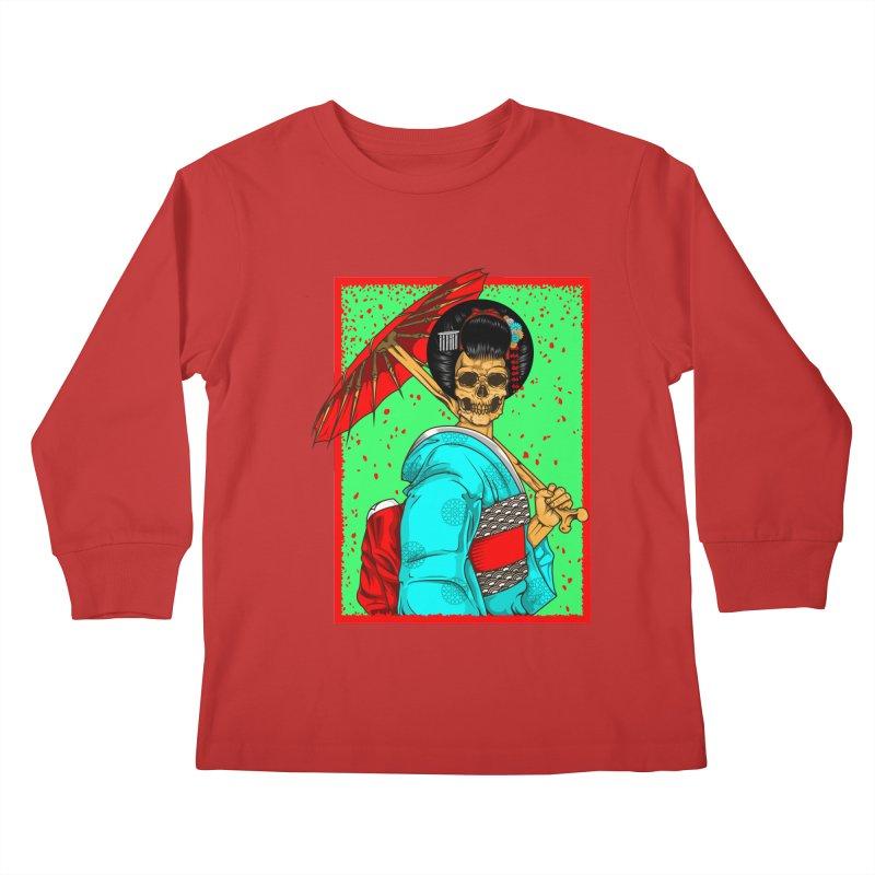 Geisha skull Kids Longsleeve T-Shirt by juliusllopis's Artist Shop