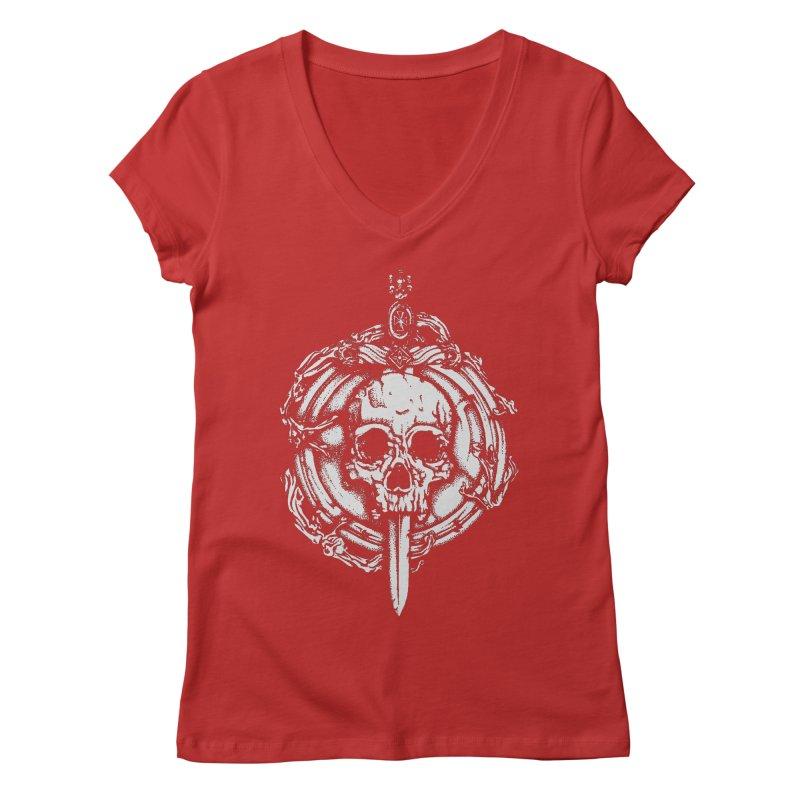 Bishop skull Women's Regular V-Neck by juliusllopis's Artist Shop