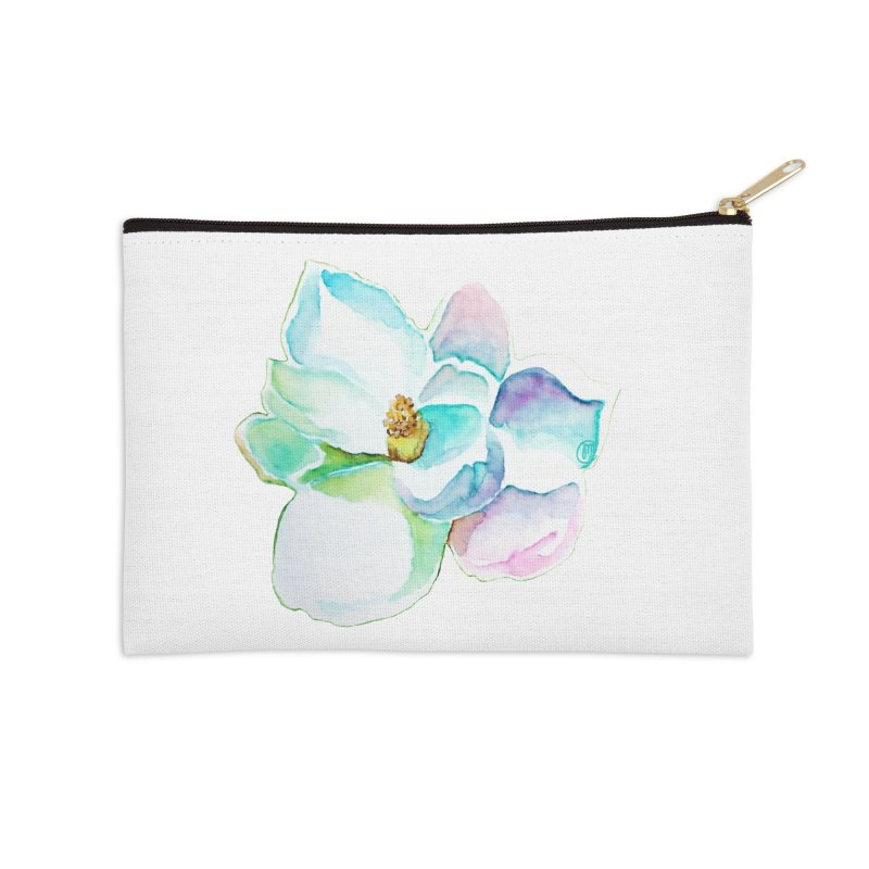 Water Magnolia Accessories Zip Pouch by Jucel Meneses