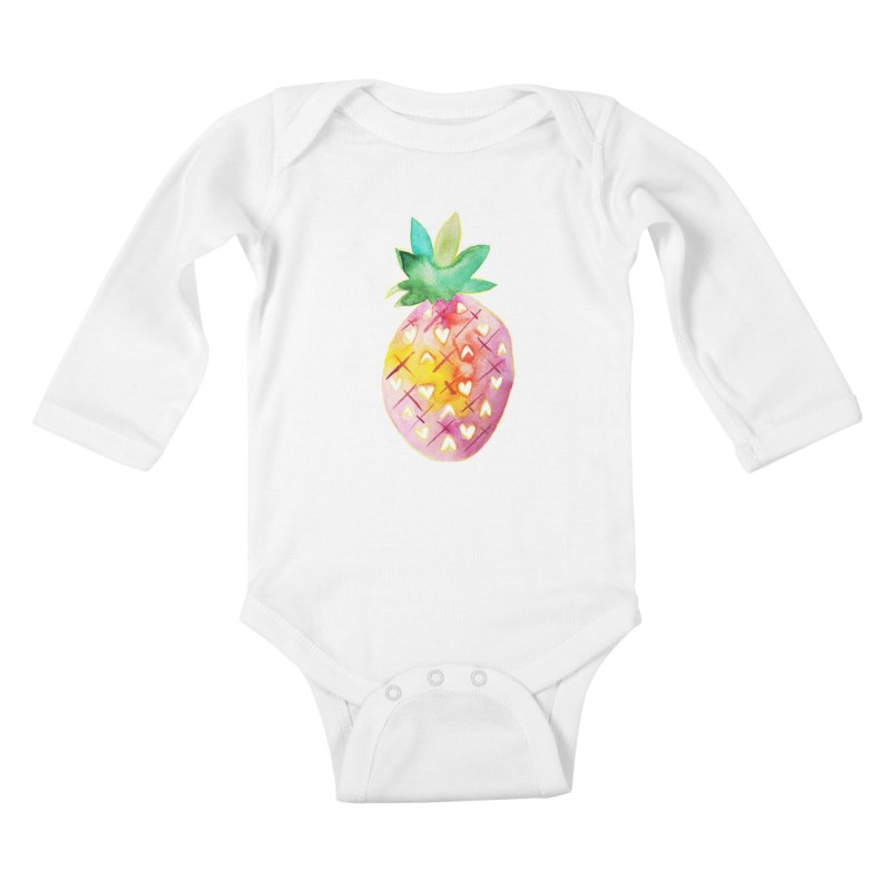 Sweet pineapple Kids Baby Longsleeve Bodysuit by Jucel Meneses