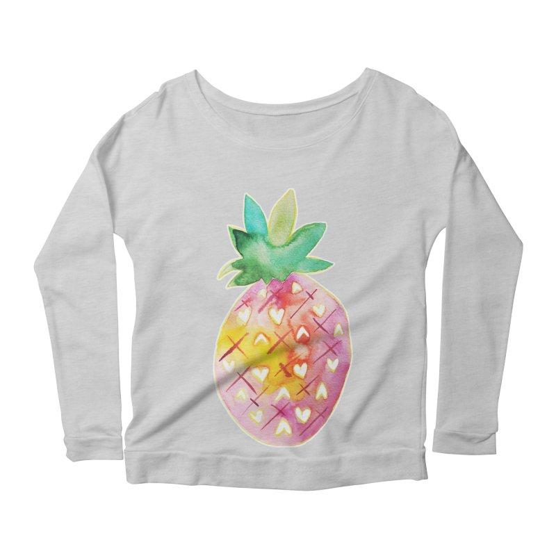 Sweet pineapple Women's Longsleeve Scoopneck  by Jucel Meneses