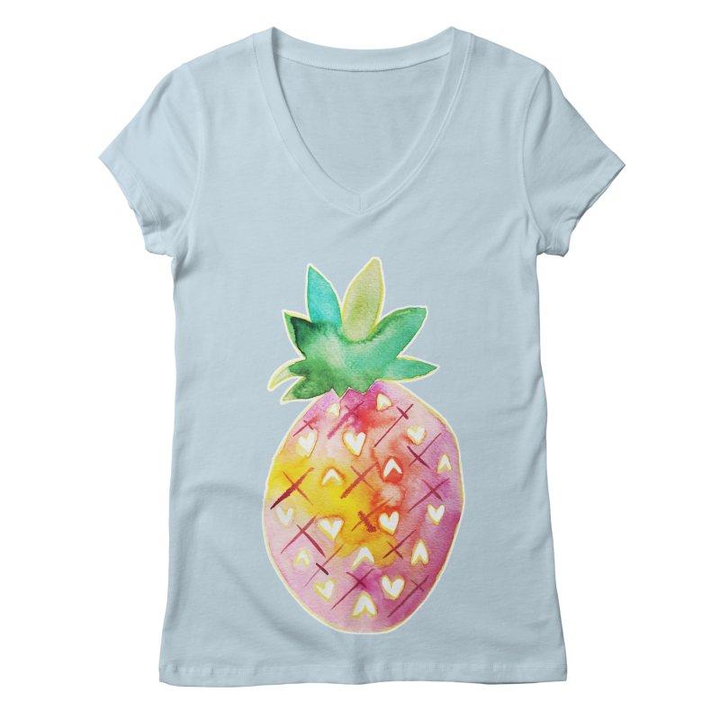 Sweet pineapple Women's V-Neck by Jucel Meneses