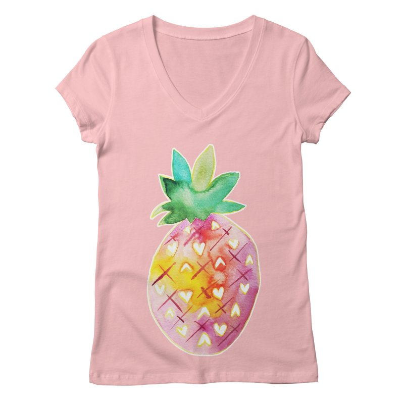 Sweet pineapple Women's V-Neck by Jucel Meneses