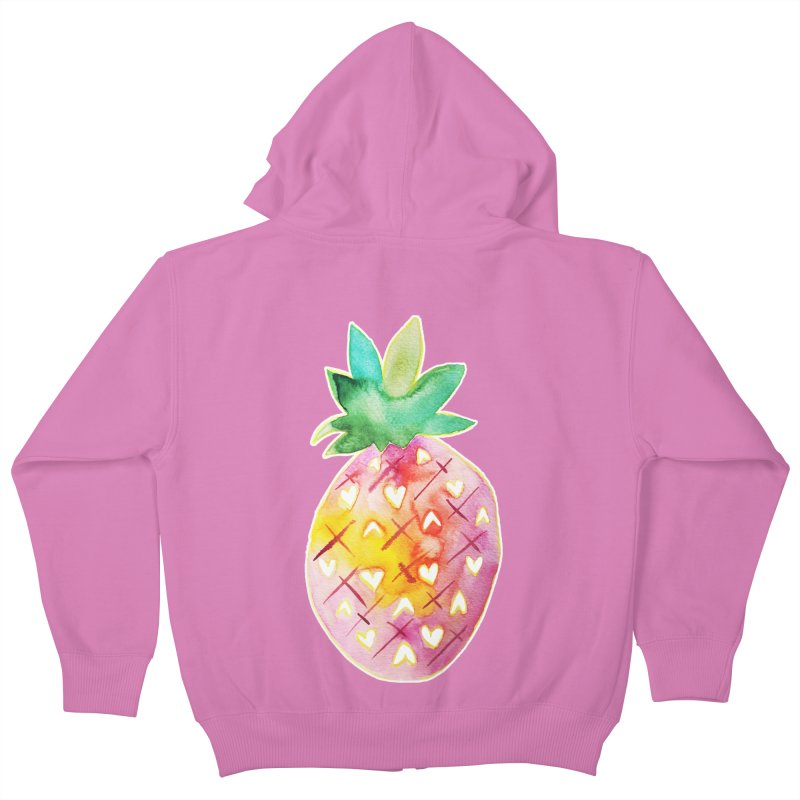 Sweet pineapple Kids Zip-Up Hoody by Jucel Meneses