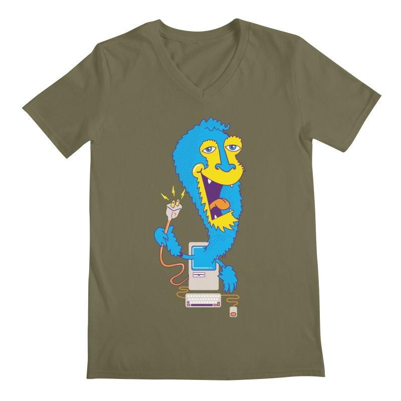 Macintosh the Monster Men's V-Neck by jumpy's Artist Shop