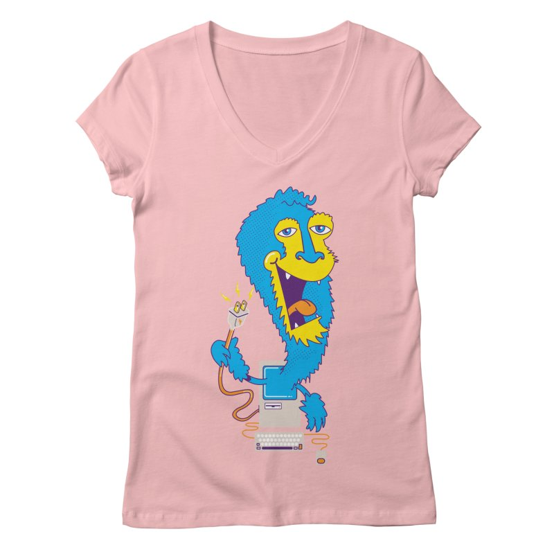 Macintosh the Monster Women's V-Neck by jumpy's Artist Shop