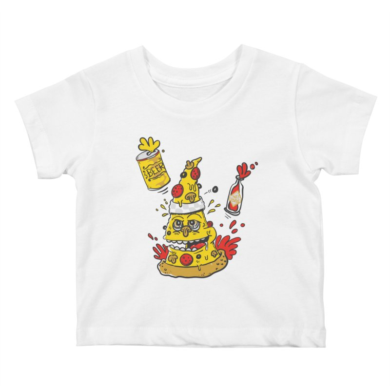 Pizza, Hot Sauce & Beer Kids Baby T-Shirt by jumpy's Artist Shop