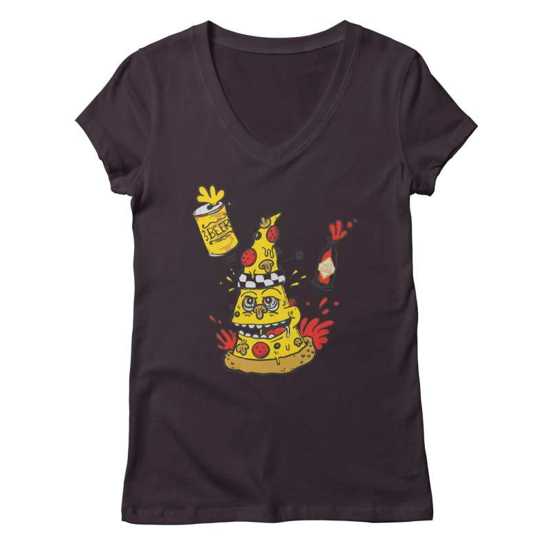 Pizza, Hot Sauce & Beer Women's V-Neck by jumpy's Artist Shop