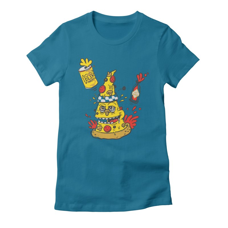 Pizza, Hot Sauce & Beer Women's Fitted T-Shirt by jumpy's Artist Shop