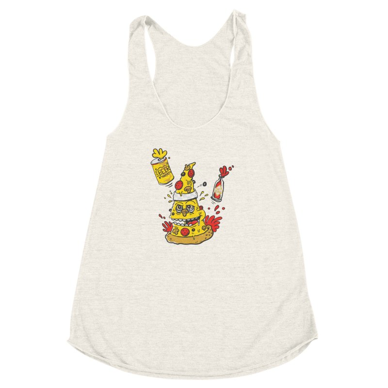 Pizza, Hot Sauce & Beer Women's Racerback Triblend Tank by jumpy's Artist Shop