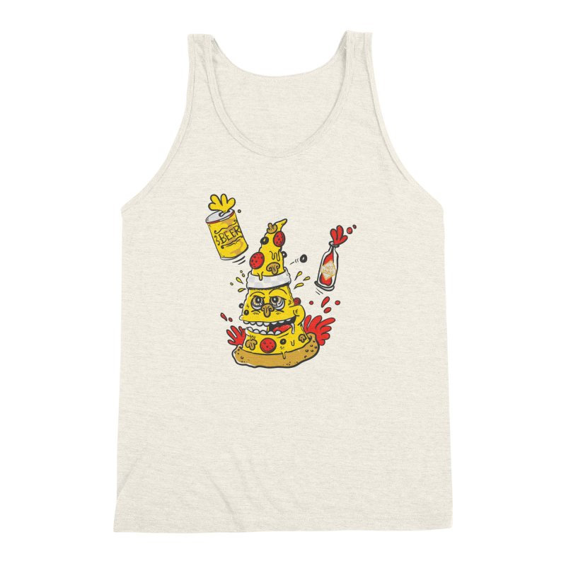 Pizza, Hot Sauce & Beer Men's Triblend Tank by jumpy's Artist Shop