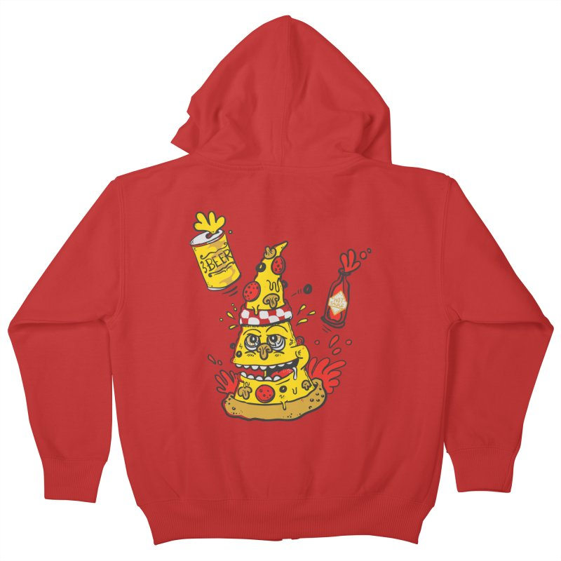 Pizza, Hot Sauce & Beer Kids Zip-Up Hoody by jumpy's Artist Shop
